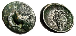 "Ancient Coins - Lokris, Lokri Opuntii AE14 ""Helmeted Athena & Cluster of Grapes"" Choice EF"