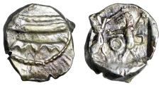 """Ancient Coins - Phoenicia, Sidon 1/16 AR Shekel """"Galley & Persian King Fighting Lion"""" VF"""