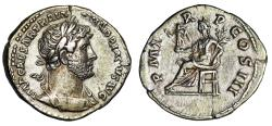 "Ancient Coins - Hadrian AR Denarius ""Pax Seated Left, Branch & Victory"" Rome RIC 95c Scarce nEF"