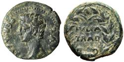 "Ancient Coins - Augustus AE25 of Julia Traducta in Spain ""Portrait & IVLIA TRAD Oak Wreath"" gVF"