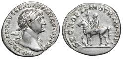 """Ancient Coins - Trajan AR Denarius """"Equus Traiani Equestrian Statue in Forum"""" Scarce gVF"""