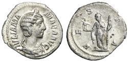 """Ancient Coins - Julia Mamaea AR Denarius """"Vesta With Palladium"""" Rome RIC 360 Good VF"""