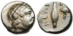 "Ancient Coins - Troas, Neandreia AE11 ""Apollo & Grain Kernel, Grapes"" VF"