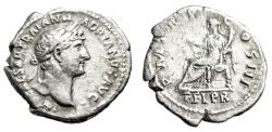"Ancient Coins - Hadrian Silver Denarius ""Felicitas Seated, Holding Caduceus"" RIC 120a aVF"