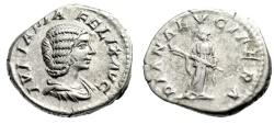"Ancient Coins - Julia Domna AR Denarius ""DIANA LVCIFERA Diana, Torch) Rome RIC 373a aVF"