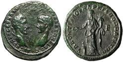 "Ancient Coins - Macrinus & Diadumenian Pentassarion of Markianopolis, Moesia ""Homonoia"" Good VF"
