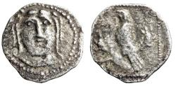 "Ancient Coins - Cilicia, Uncertain AR Obol ""Facing Herakles & Eagle on Horned Stag Head"" VF"