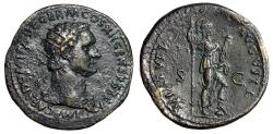 "Ancient Coins - Domitian Dupondius ""VIRTVTI AVGVSTI Virtus, Foot on Helmet"" Rome 86 AD Good VF"