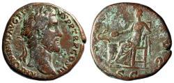 "Ancient Coins - Antoninus Pius AE Sestertius ""Salus Seated, Snake"" 140-144 RIC 637a VF"