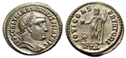 "Ancient Coins - Maximinus II Daia Silvered Follis ""Jupiter, Wreath in Field"" Heraclea RIC 66 nEF"