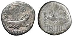 "Ancient Coins - The Triumvirs, Mark Antony Legionary AR Denarius ""Galley & Legion III Aquila"""
