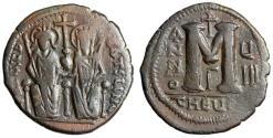 "Ancient Coins - Justin II AE Follis ""Emperor & Empress Sophia"" Theoupolis (Antioch) Year 8"