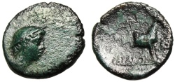 "Ancient Coins - Aeolia, Aigai AE14 ""Hermes & Forepart Goat"" SNG Cop 14ff Scarce VF"