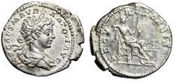 "Ancient Coins - Caracalla AR Denarius ""Securitas Seated, Altar"" Rome 199 AD RIC 29 Rare Good VF"