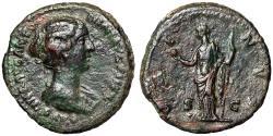 """Ancient Coins - Faustina II Junior (Daughter of Antoninus Pius) AE As """"Venus Holding Apple"""" VF"""