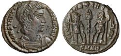"Ancient Coins - Constantine I The Great AE16 ""GLORIA EXERCITVS Soldiers"" Heraclea RIC 150 EF"