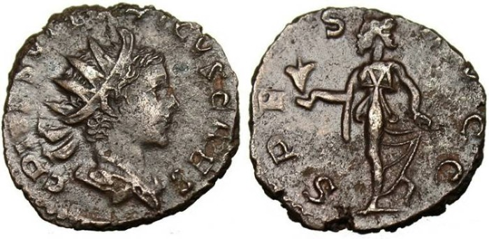 "Ancient Coins - Tetricus II, AE Ant. ""Spes Walking"" Trier RIC 270 VF/EF"