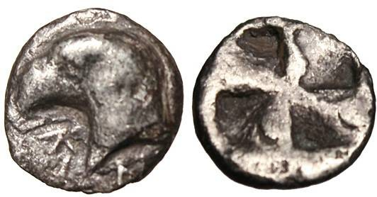 "Ancient Coins - Aeolis, Kyme AR Hemiobol ""Eagle's Head & Incuse Mill Sail"" VF"