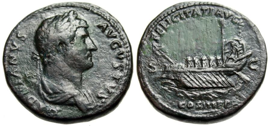 "Ancient Coins - Hadrian AE Sestertius ""FELICITATI AVG COS III Galley Rowers Horator"" RIC 706 VF"