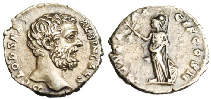 """Ancient Coins - Clodius Albinus AR Denarius """"Minerva, Olive Branch"""" RIC 7 Near MS Portrait"""