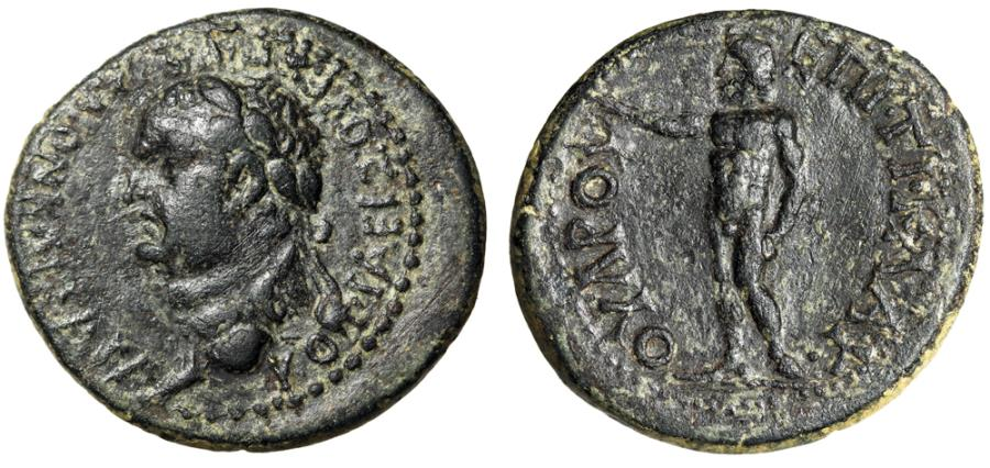 "Ancient Coins - Vespasian AE24 of Cotiaeum in Phrygia ""Portrait Left & Zeus, Raising Arm"" Scarce"