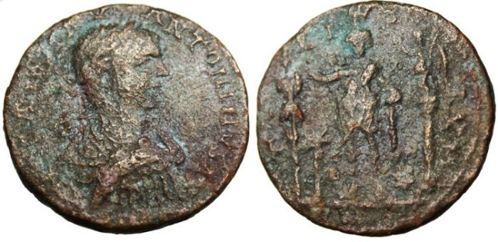 "Ancient Coins - Elagabalus, AE 27 ""Atarte with trophy, Nike, and murex shell"" Phoenicia, Tyre"