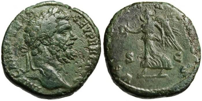 "Ancient Coins - Septimius Severus, AE Sestertius ""Victory"" RIC 656 Scarce aVF"