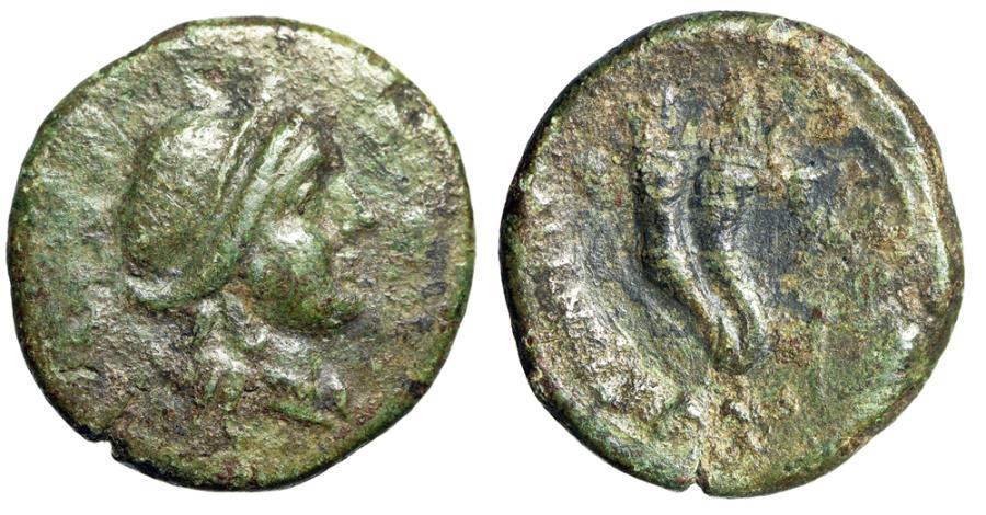 """Ancient Coins - Bruttium, Vibo Valentia (Hipponion) AE Semis """"Hera & Double Cornucopia"""" gF"""