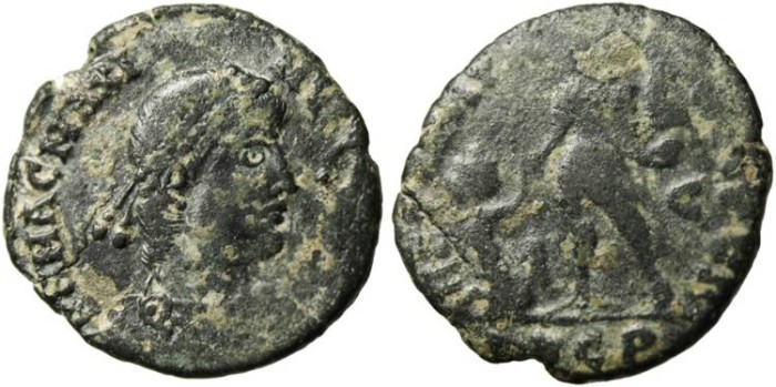 "Ancient Coins - Magnus Maximus, AE2 ""REPARATIO REIPVB"" Lugdunum (Lyons) Mint LVGP Exergue"