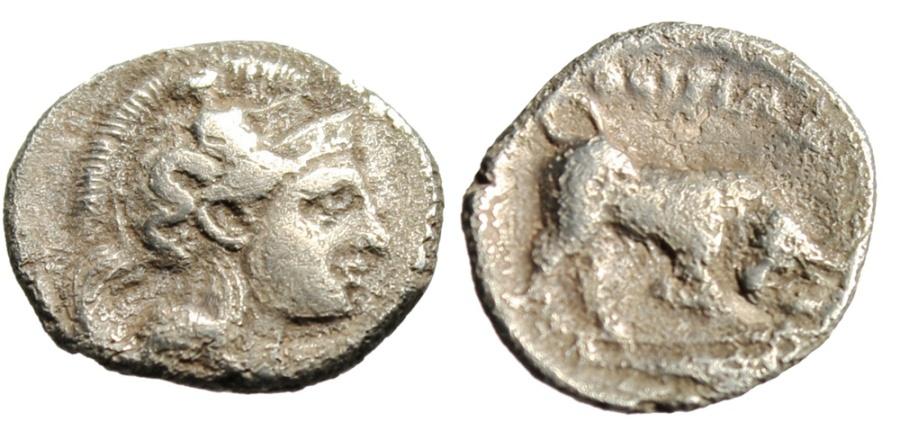 "Ancient Coins - Lucania Thourioi (Thurium) Silver Diobol ""Athena & Bull Butting, Tunny Fish"""
