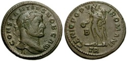 Ancient Coins - Rare VF Constantius I follis. H below bust; unlisted in RIC for H under bust.