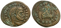 Ancient Coins - Scarce VF Maxentius follis with Victoria alone on reverse. Green is cleaning remnant - it is NOT bronze disease.