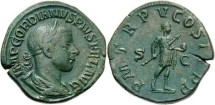 Ancient Coins - VF+ Gordian III (238-244 AD) sestertius. Superb green patina.
