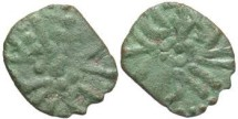 World Coins - Irregular styca. Pretty light green patina. Struck  843/4 - 855 AD.
