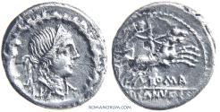 Ancient Coins - D. SILANUS L. f.. (91 BC) Denarius, 3.48g.  Rome. D. Silanus