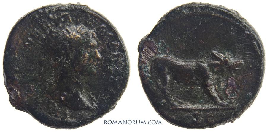 Ancient Coins - TRAJAN. (AD 98-117) Quadrans, 3.22g.  Rome. She-wolf