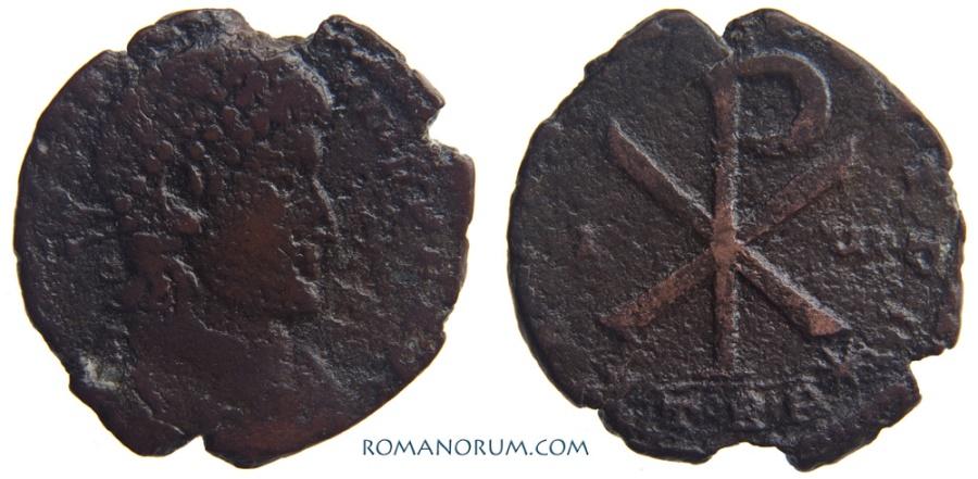 Ancient Coins - CONSTANTIUS II. (AD 337-61) Centenionalis, 4.98g.  Trier. Scarce Chi-Rho.