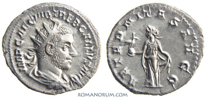 Ancient Coins - TREBONIANUS GALLUS. (AD 251-253 ) Denarius, 3.49g.  Rome. AETERNITAS AVGG. Magnificent strike.