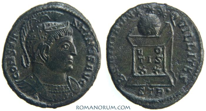 Ancient Coins - CONSTANTINE I, The Great. (AD 306-337) AE3, 2.87g.  Trier. Fantastic plumed helmet.