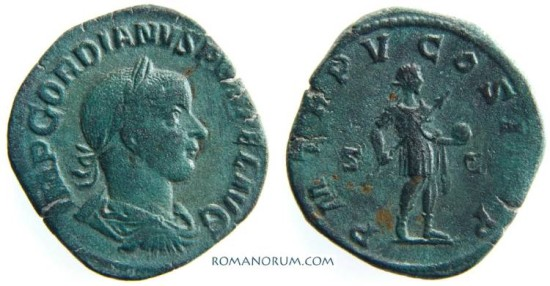 Ancient Coins - GORDIAN III. (238-244 AD) Sestertius, 19.52g. Rome. Nice patina.