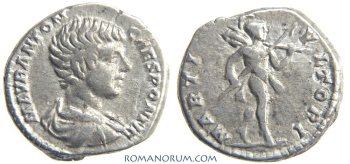 Ancient Coins - CARACALLA. (AD 211-217 ) Denarius, 3.54g.  Rome. MARTI VLTORI. Childhood portrait, aged about 10 years.