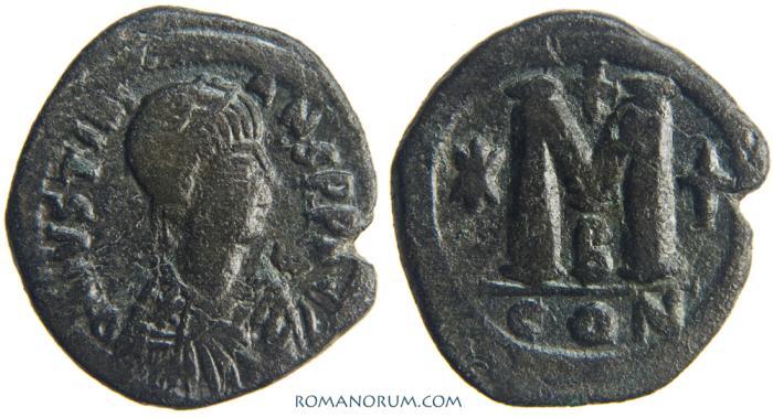 Ancient Coins - JUSTINIAN I. (AD 527-565 AD) Follis, 15.47g.  Constantinople. Engraver's error: JVSTINIANS [sic]