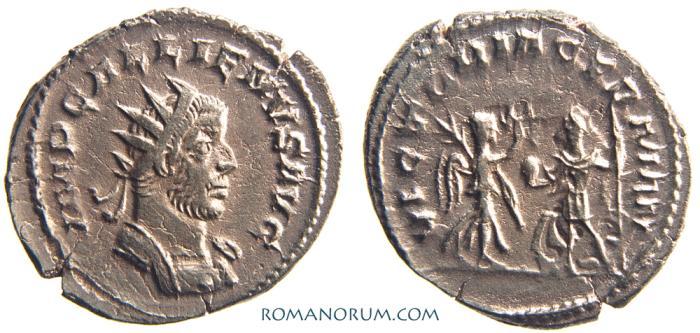 Ancient Coins - GALLIENUS. (AD 253-268) Antoninianus, 3.12g.  Antioch. VICTORIA GERMAN.