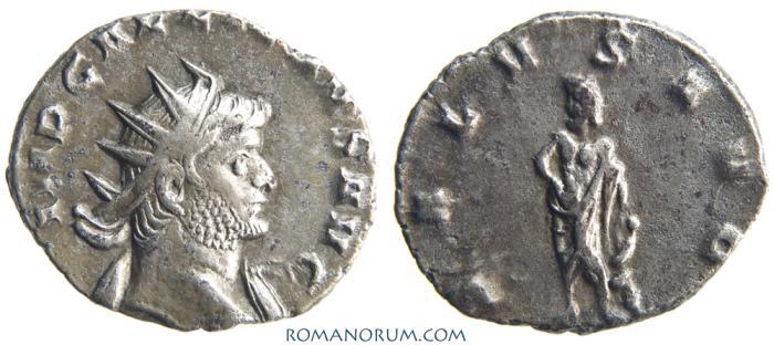 Ancient Coins - GALLIENUS. (AD 253-268 ) Antoninianus, 2.61g.  Mediolanum. SALVS AVG. Aesculapius, coiled serpent.
