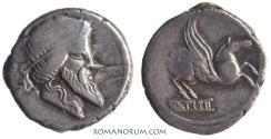 Ancient Coins - Q. TITIUS. (90 BC) Denarius, 3.96g.  Rome. Wonderful Pegasus.