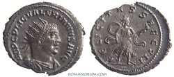 Ancient Coins - VALERIAN. (AD 253-260) Antoninianus, 3.60g.  Antioch. FELICITAS SAECVLI.  Featured in wildwinds.com