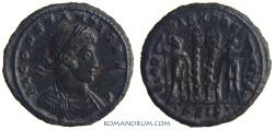 """Ancient Coins - CONSTANS. (AD 337-350) AE3, 2.59g.  Siscia. GLORIA EXERCITVS. Scarcer """"CONSTANTIS"""" declension."""