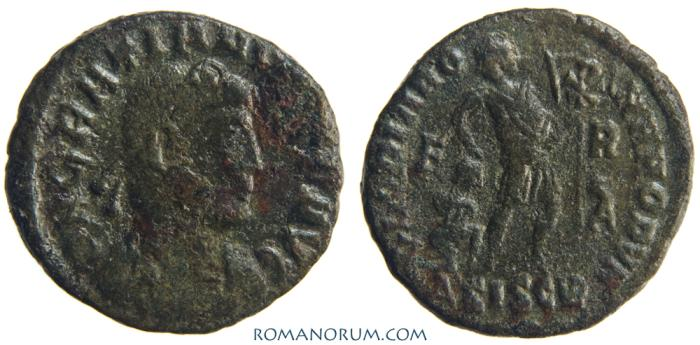 Ancient Coins - GRATIAN. (AD 375 -383) AE 3, 2.38g.  Siscia. GLORIA ROMANORUM. Unlisted fieldmark combination.