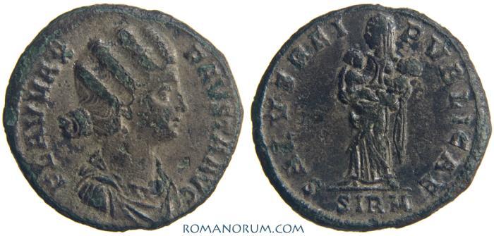 Ancient Coins - FAUSTA. (Wife of Constantine The Great) AE3, 1.99g.  Sirmium. SALVS REIPVBLICAE. Scarce.