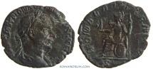 Ancient Coins - TREBONIANUS GALLUS. (AD 251-253 ) Sestertius, 9.58g.  Rome. ROMAE AETERNAE